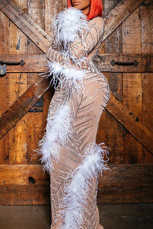 Lovely Party Patchwork Skinny White Floor Length Prom Dress