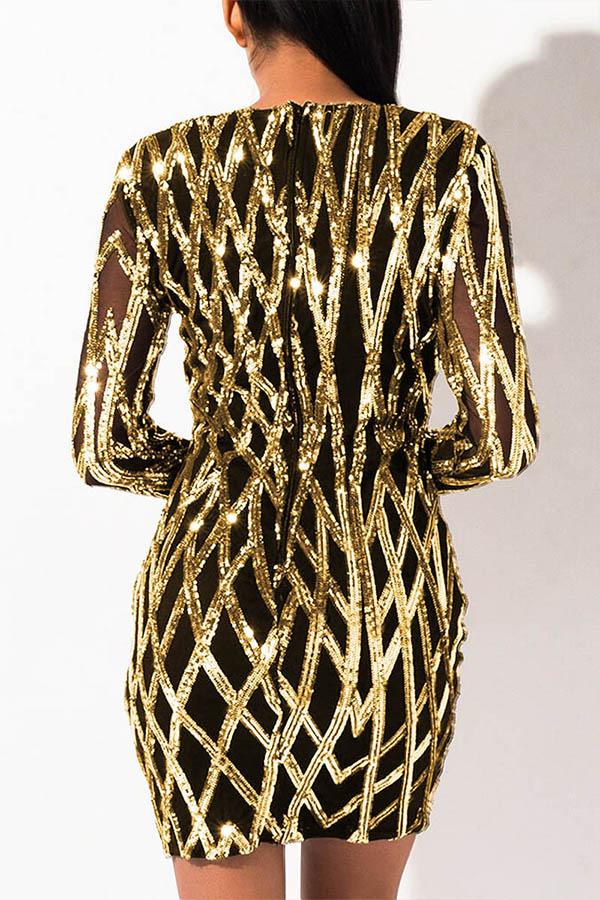Lovely Party V Neck Patchwork Gold Mini Dress