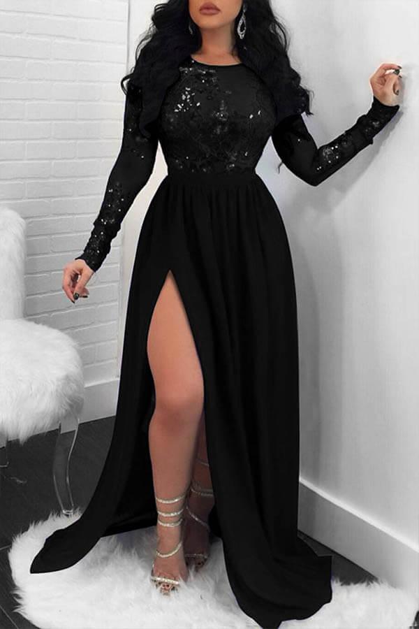 Lovely Party Side High Slit Black Trailing Evening Dress