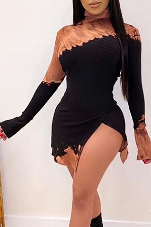Lovely Casual Turtleneck Patchwork Black Mini Printed Dress