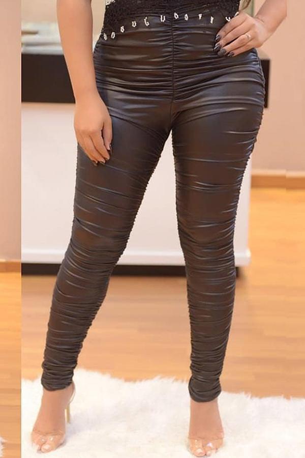 Lovely Trendy Skinny Black PU Pants
