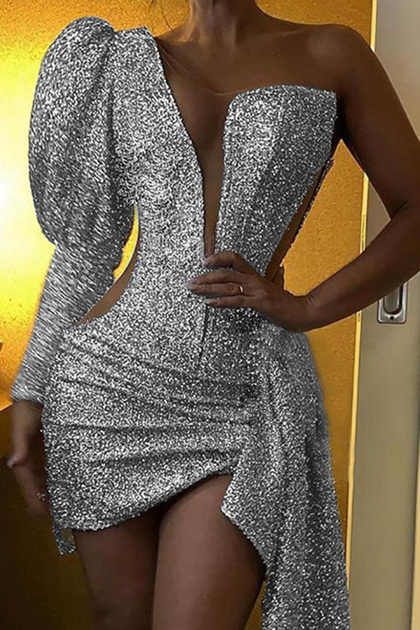 Lovely Party One Shoulder Silver Mini Evening Dress