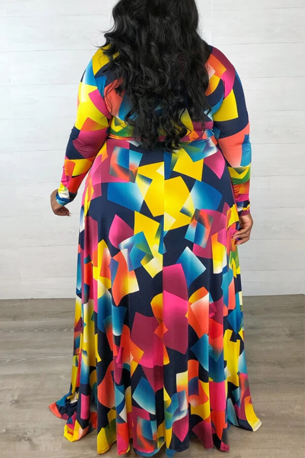 Lovely Casual Geometric Printed Multicolor Plus Size Dress