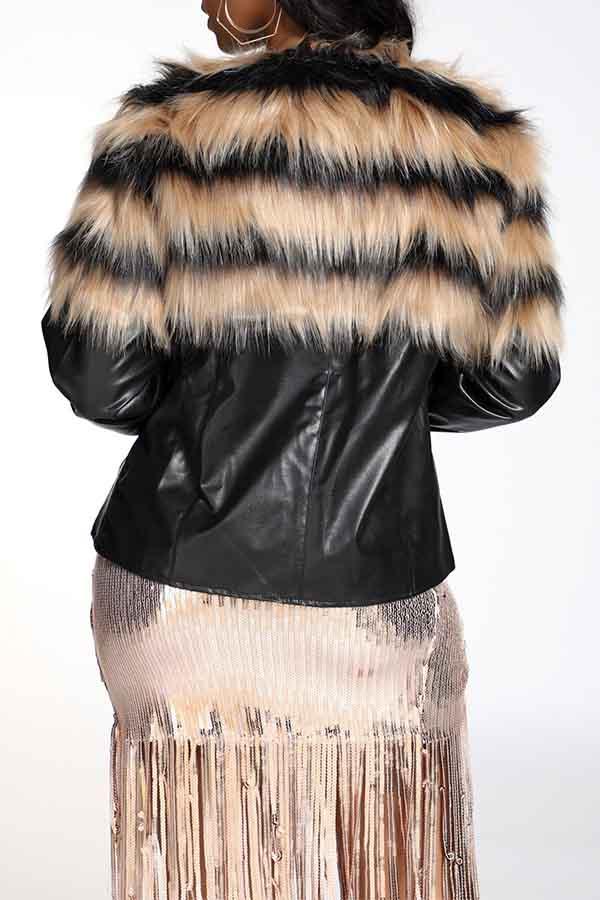 Lovely asual Patchwork Basic Black Winter Coat