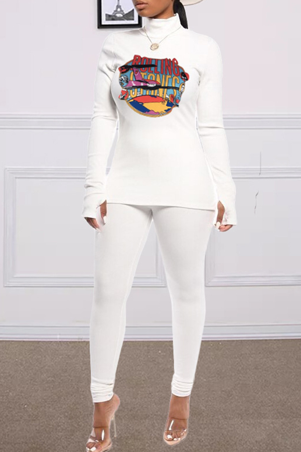 Lovely Casual Turtleneck White Two-piece Pants Set