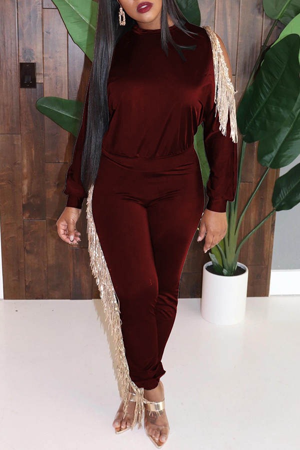 Lovely Party Tassel Design Purplish Red Two-piece Pants Set
