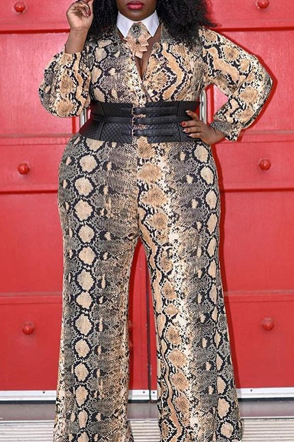 Cheap Plus Size Jumpsuit Lovely Casual V Neck Snakeskin Print Plus Size One-piece Jumpsuit