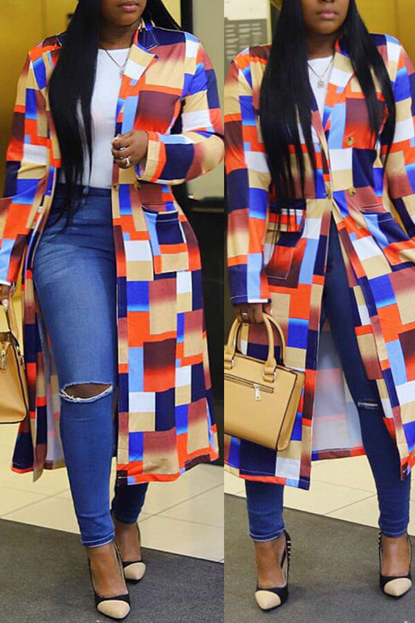 Lovely Casual Plaid Multicolor Trench Coat