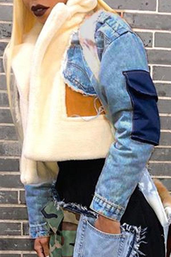lovelywholesale / Lovely Casual Patchwork Short Blue Denim Coat