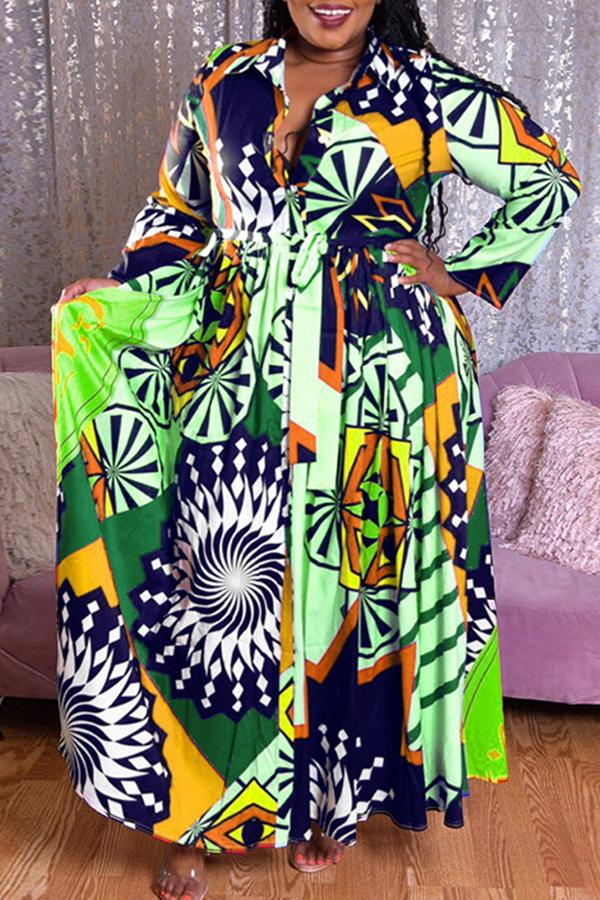 lovelywholesale / Cheap Plus Size Dress Lovely Casual Print Green  Plus Size Maxi Dress