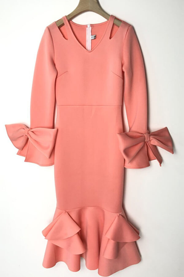 Lovely Sweet Flounce Patchwork Pink Mid Calf Evening Dress