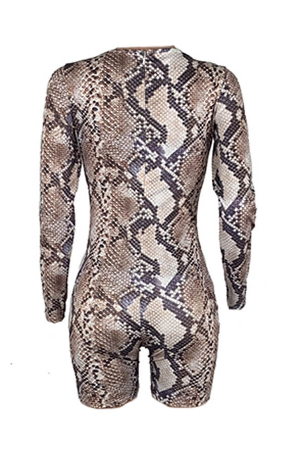 Lovely Sexy Snakeskin Printed One-piece Romper