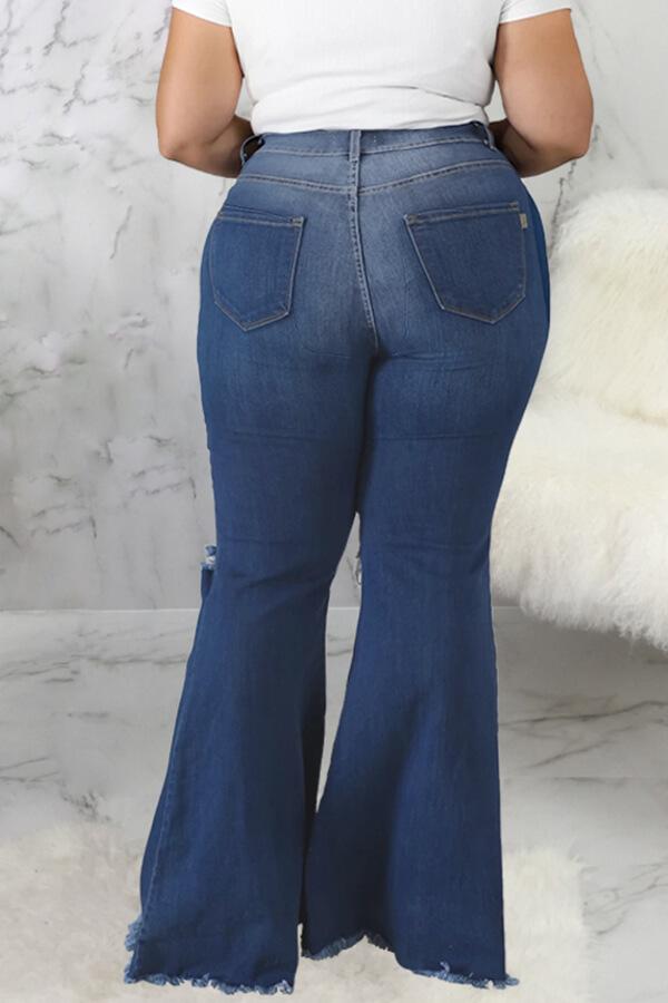 Lovely Trendy Broken Holes Blue Plus Size Jeans