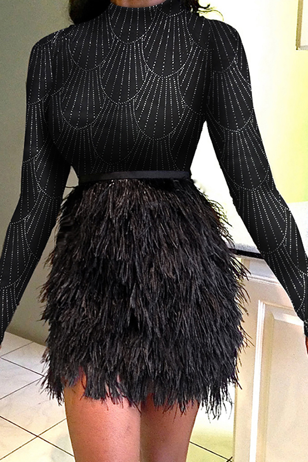 Lovely Sweet Patchwork Black Mini Evening Dress