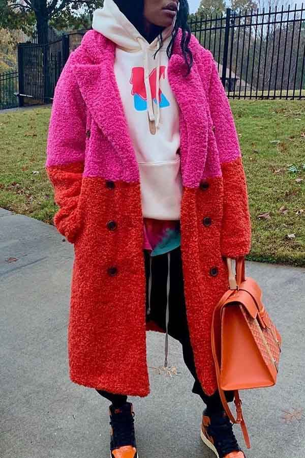 Lovely Casual Patchwork Rose Red Mid Calf Coat