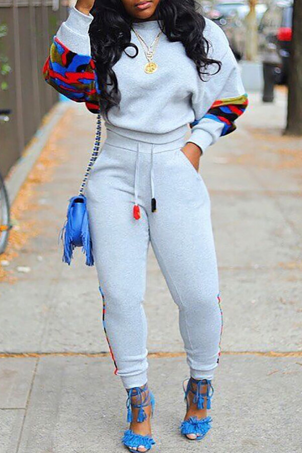 Lovely Casual Patchwork Grey Two-piece Pants Set