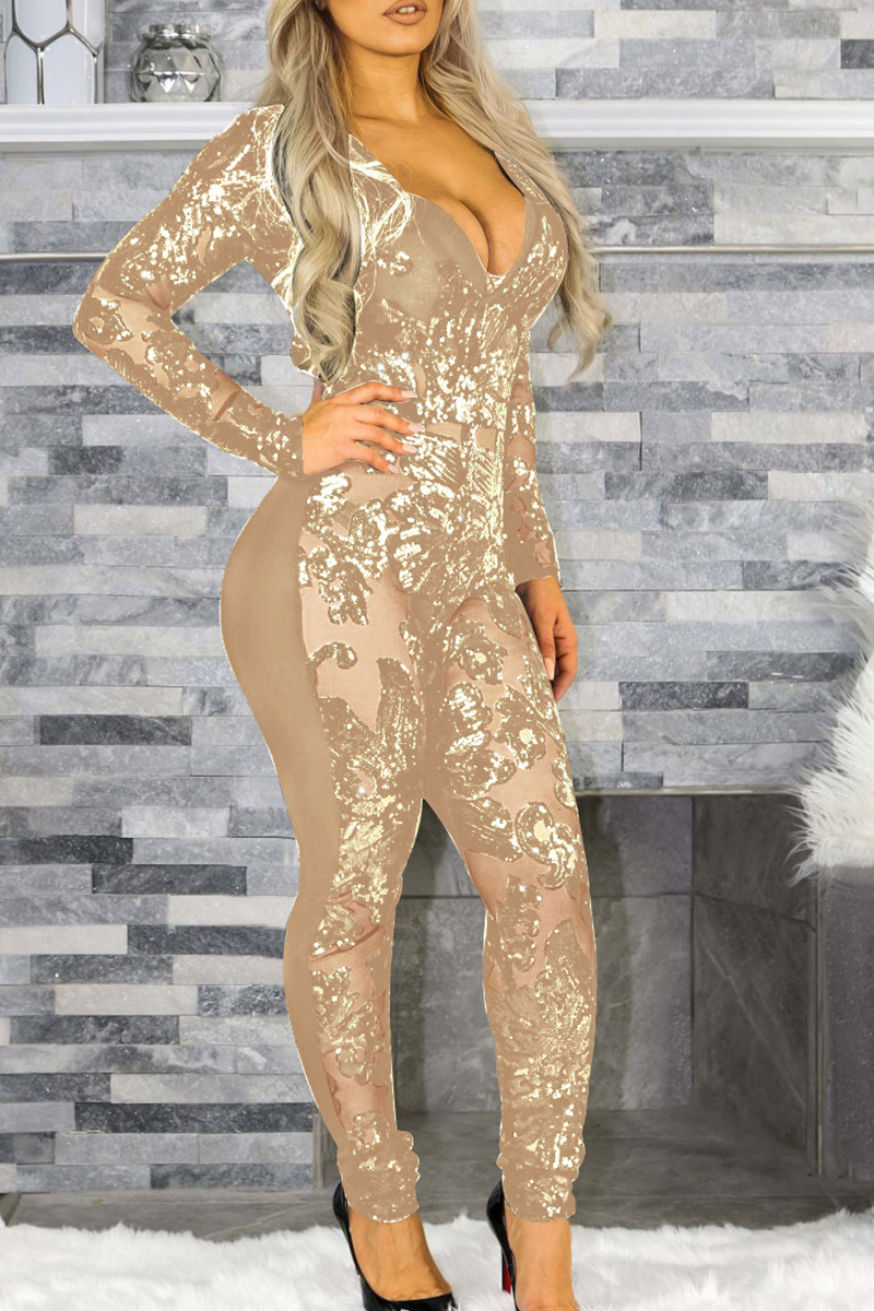 Lovely Casual Patchwork Gold One-piece Jumpsuit