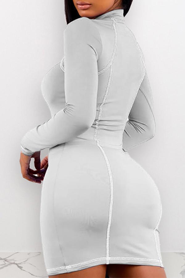 Lovely Casual Zipper Design White Mini Dress