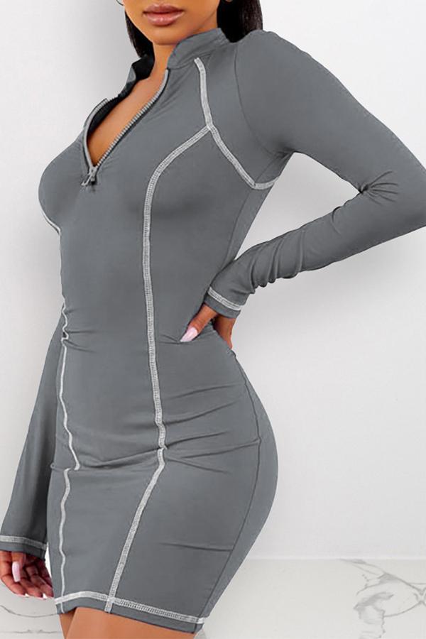Lovely Casual Zipper Design Grey Mini Dress