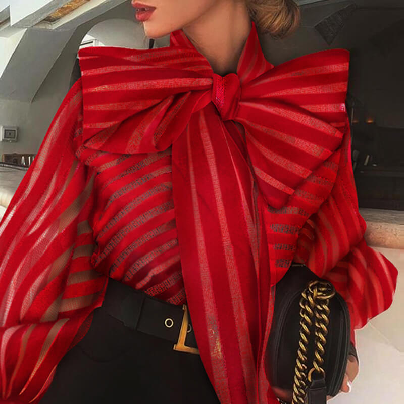Lovely Chic Striped Bow-Tie Red Blouse