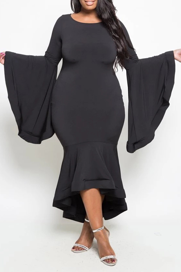 Lovely Casual Flounce Black Trumpet Mermaid Ankle Length Plus Size Dress фото