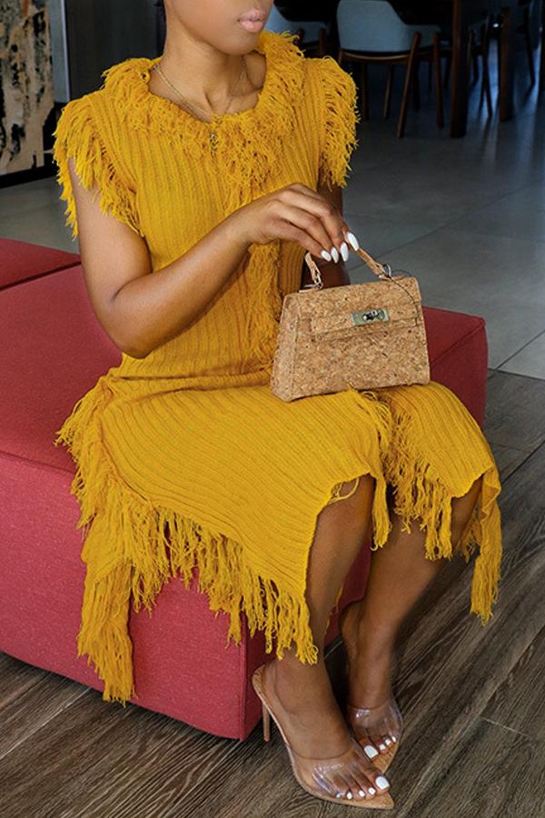 Lovely Trendy Tassel Design Yellow Mid Calf Dress