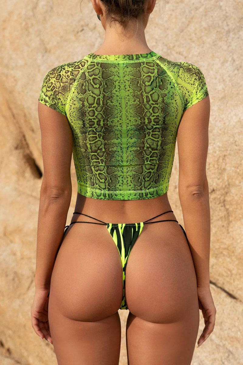 Lovely Lace-up Green Two-piece Swimsuit