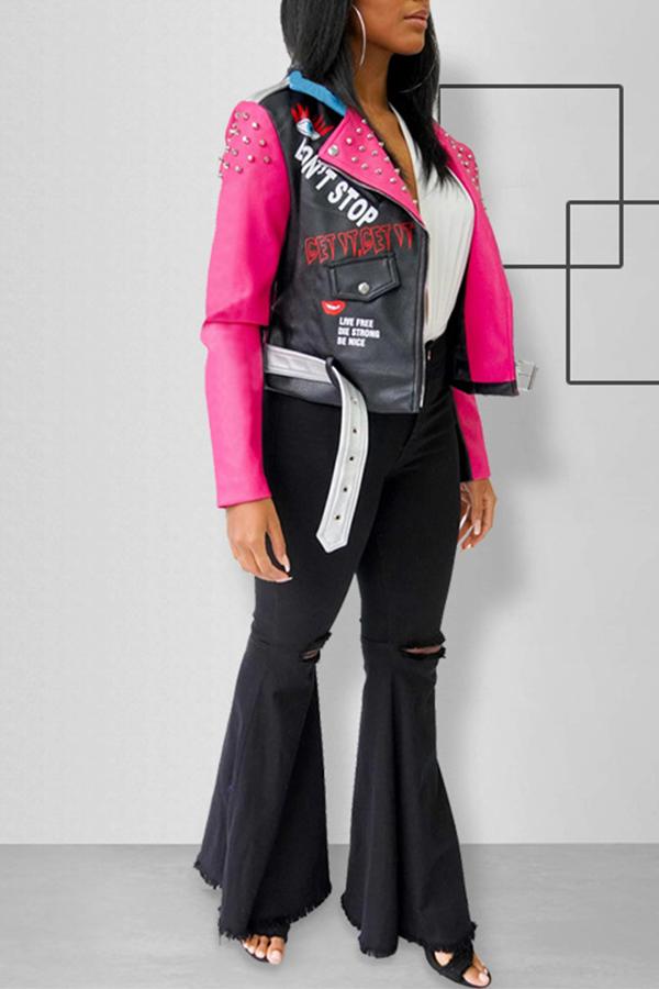 Lovely Chic Patchwork Black PU Jacket
