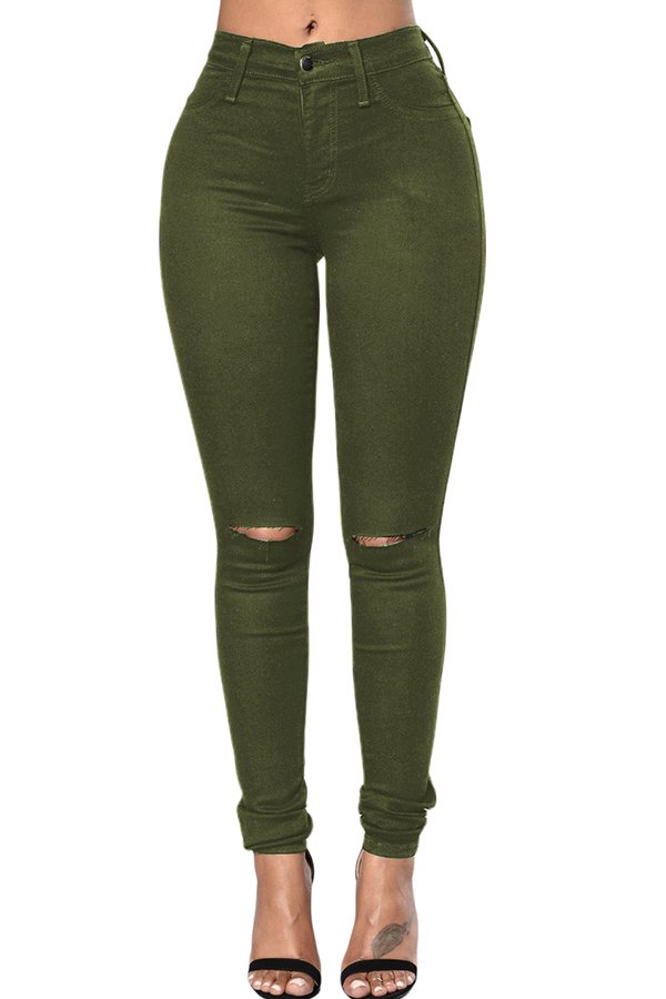 Shop LovelyWholeSale.com - casual hollow-out army green jeans