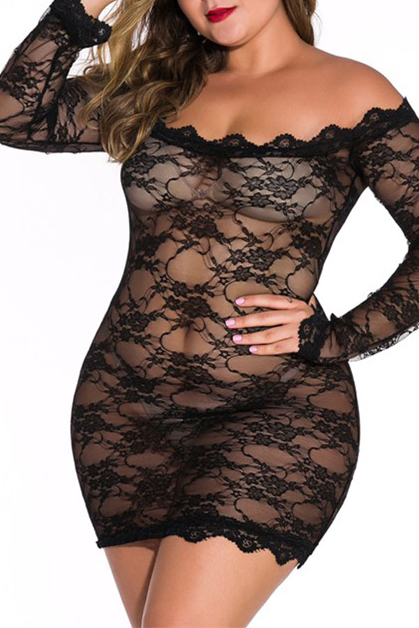 Lovely Sexy See-through Lace Black Babydolls