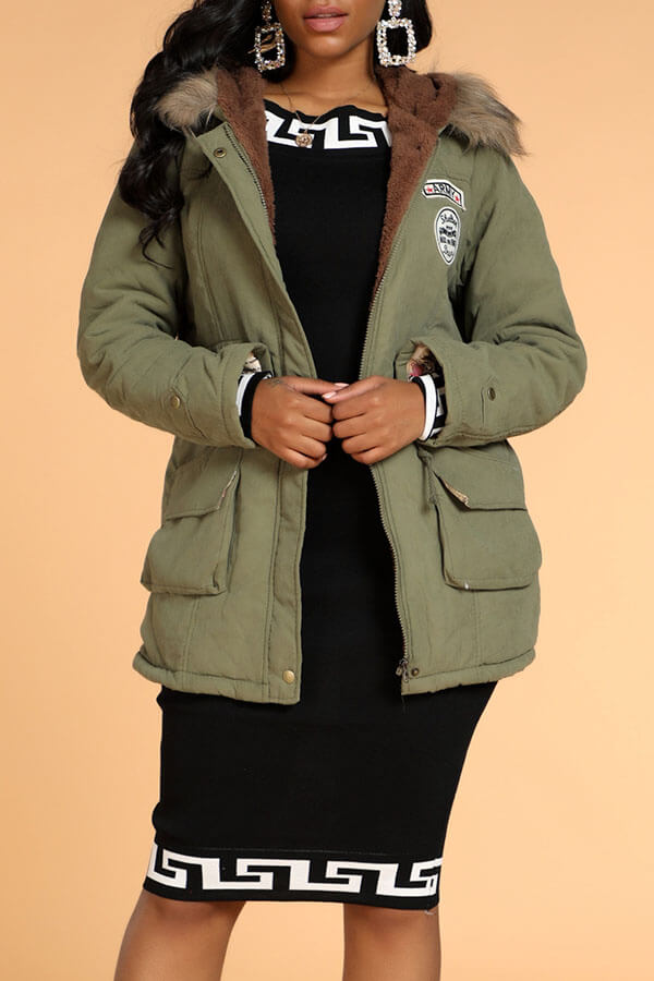Lovely Casual Patchwork Army Green Winter Coat