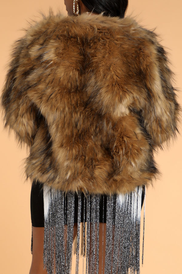 Lovely Stylish Brown Faux Fur Coat