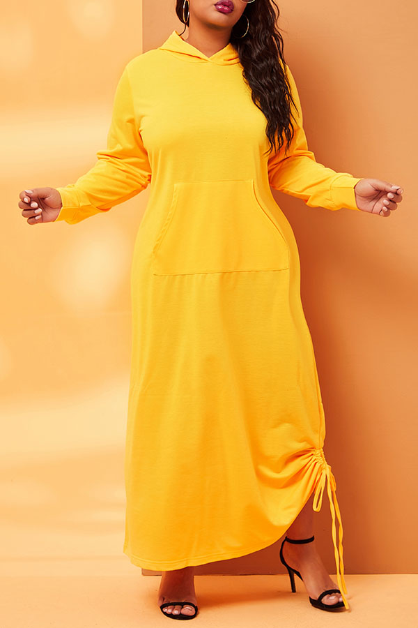 Shop LovelyWholeSale.com - trendy hooded collar loose fit ankle length yellow dress