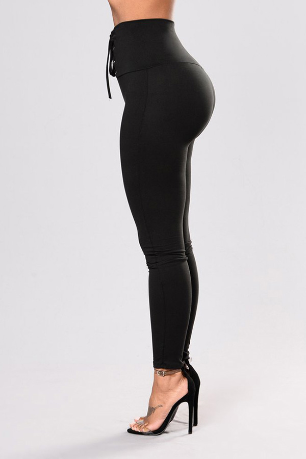 Lovely Chic Lace-up Black Leggings