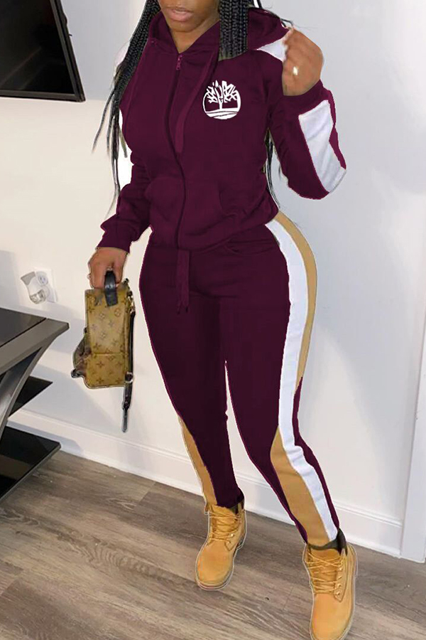 Lovely Sportswear Hooded Collar Patchwork Wine Red Two-piece Pants Set