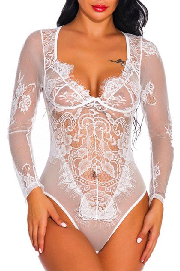 Lovely Sexy See-through White Teddies