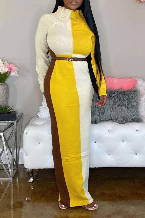 Lovely Trendy Color-lump Patchwork Yellow Ankle Length Dress