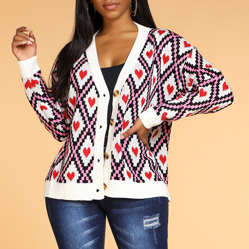 Lovely Leisure V Neck Heart White Cardigan