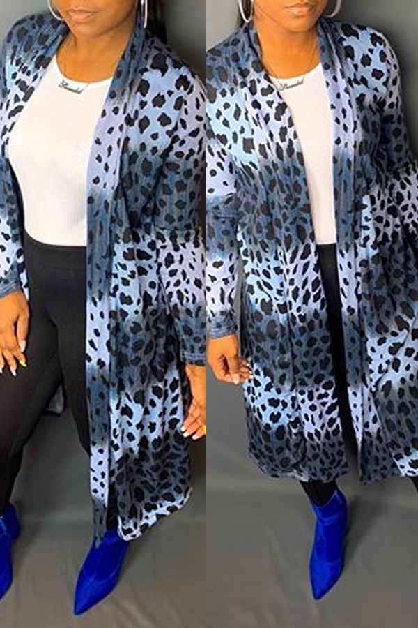 Lovely Casual Print Blue Coat