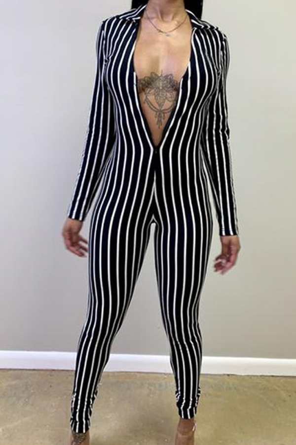 Lovely Leisure Striped Skinny Black One-piece Jumpsuit