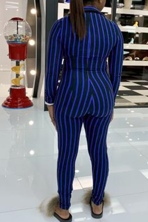 Lovely Leisure Striped Skinny Blue One-piece Jumpsuit