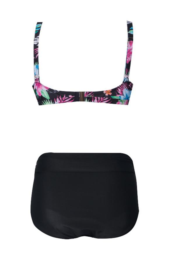 Lovely Print Black Plus Size Two-piece Swimwear