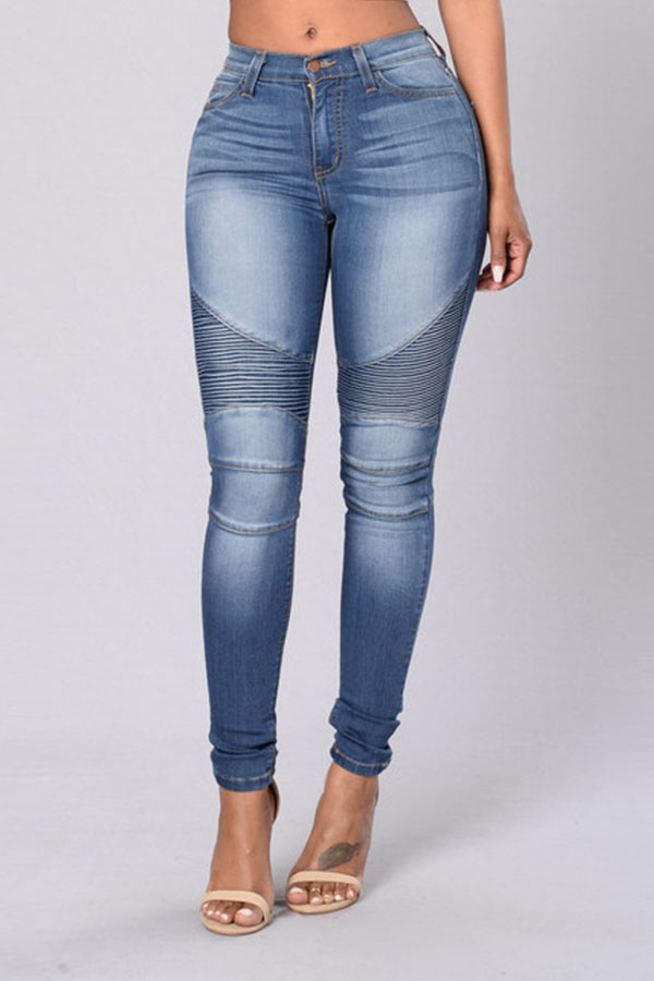 Lovely Trendy Patchwork Baby Blue Jeans