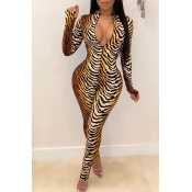Lovely Sexy Tiger Stripes One-piece Jumpsuit