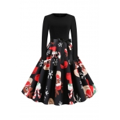 Lovely Christmas Day Printed Black Mid Calf Dress