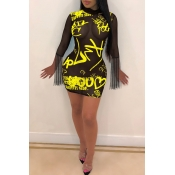 Lovely Sexy See-through Printed Yellow Mini Dress