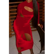 Lovely Sexy Turtleneck Hollow-out Red Ankle Length