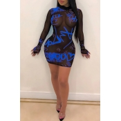 Lovely Sexy See-through Letter Printed Blue Mini Dress