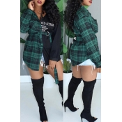 Lovely Casual Turndown Collar Plaid Printed Green