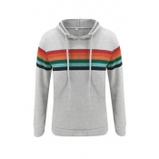 Lovely Casual Rainbow Striped Grey Hoodie